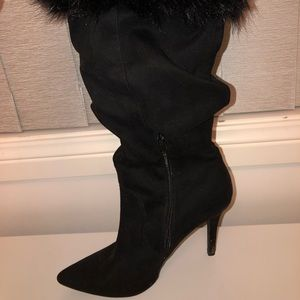 Women's Forever 21 Faux Fur Heeled Boots - Size 8